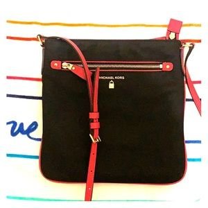 Michael Kors Leather trim cross bag